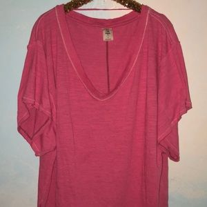 Free People Tops - Free people hot pink 'we the free' t-shirt
